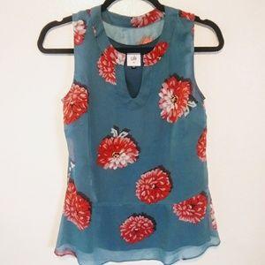 Cabi blushing blouse floral peplum chiffon EUC